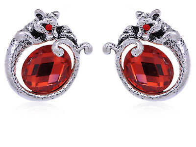 Antique Silver Ruby Red Rhines Prowling Wild Cat Earrings