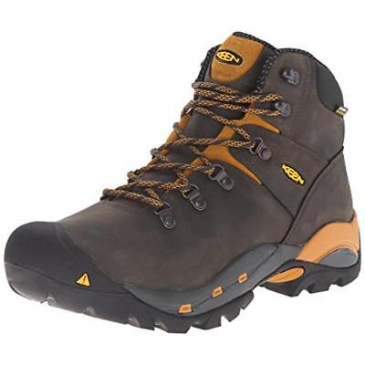 Keen 9594 Mens Black Leather Work Boots Shoes 8.5 Extra Wide (E+, WW) BHFO