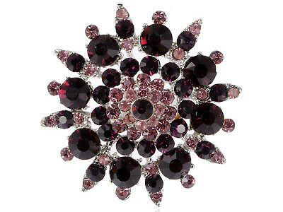 Stunning Large Purple Crystal Rhinestone Snowfalek Flower Fashion Ring