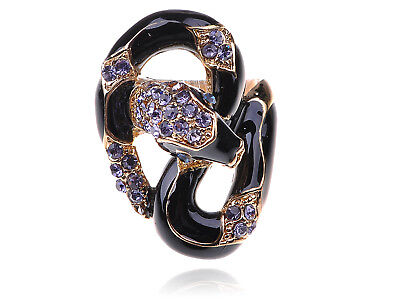 Black Enamel Body Purple Crystal Rhinestone Serpent Snake Fashion Sized Ring