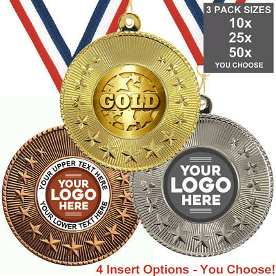 GOLD METAL MEDALS 50mm, PACK OF 10,RIBBONS, INSERTS or OWN LOGO & TEXT