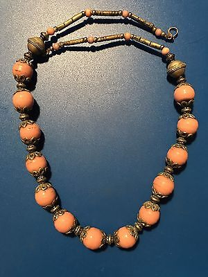 Antique MOROCCAN PINK BERBER STONE BEADED NECKLACE Tribal Wedding Silver