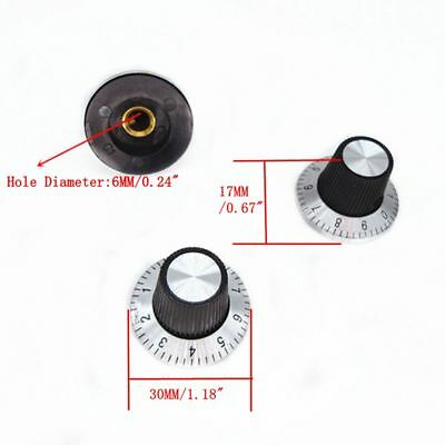 10Pc Potentiometer Metal Knob Scale with Dial for 6mm Shaft Rotary Cap 0-9 Scale