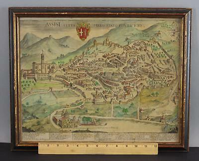 Rare Antique 16thC Hand Colored Italian Map Walled City of Assisi, No Reserve!