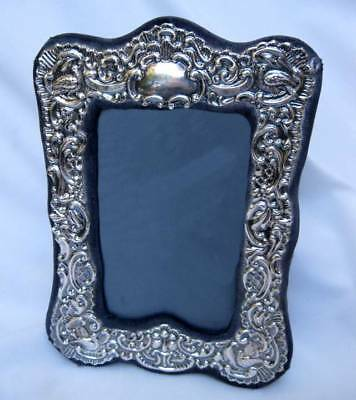 Ornate Repousse Rbb London English Sterling Silver Easelback Picture Frame 1985