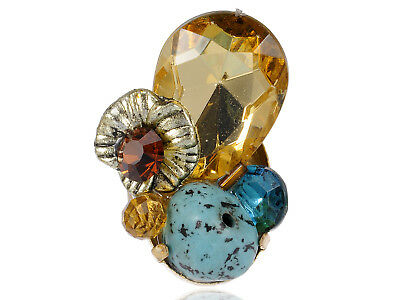 Large Topaz Round Oval Face RhinesFlower Turquoise SCostume Ring New