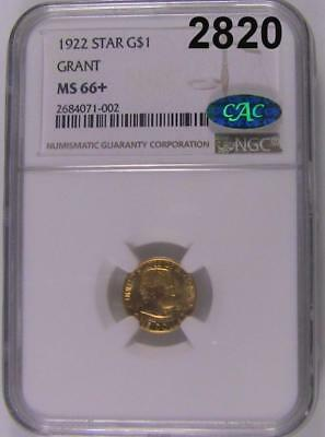 1922 Ngc Certified Ms 66+ Cac Sticker Star Grant Gold $1.00 A Real Gem! #2820