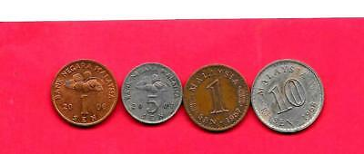 Malaysia 4 Diff Different 1967-2007 Used Coin Lot Collection Set Group W Old