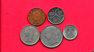 Belgium Belgian 5 Diff Different 1950-2007 Coin Lot Collection Set W Old-Euro