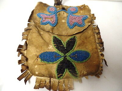 Pre 1900 Indian Native American Beaded Leather Tobacco Bag Northern Wisconsin