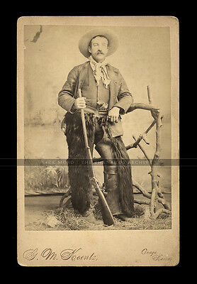 1880s PHOTO ARMED KANSAS COWBOY / SCOUT PISTOL & WINCHESTER HIGH WALL RIFLE