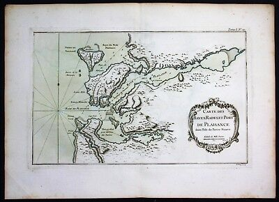 1764 - Newfoundland Canada Placentia Labrador Bellin handcolored antique map