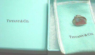 Tiffany & Co. Sterling Enamel American Flag Tie Tac LAPEL PIN  EXCELLENT  BOX