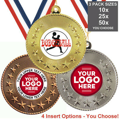 DODGEBALL METAL MEDALS 50mm, PACK OF 10, RIBBONS INSERTS or OWN LOGO WITH TEXT