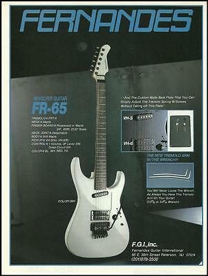 The 1986 Fernandes FR-65 Revolver electric guitar ad 8 x 11 advertisement