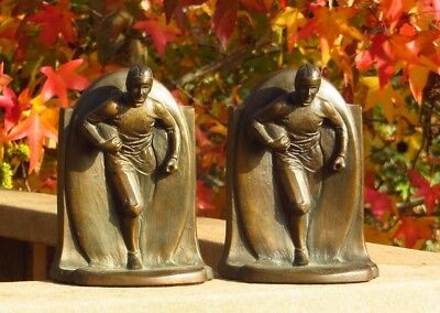 Stunning 1920s American Football Sports Player Bronze Bookends Pair H. Salmi