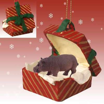 Hippopotamus Hippo RED Gift Box Holiday Christmas ORNAMENT