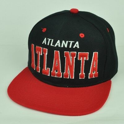 Atlanta Usa City Georgia Town Black Red Flat Bill Snapback Adjustable Cap  Hat c82b21423