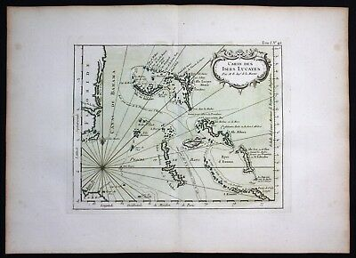 1764 - Lucayan Archipelago Bahama Bahamas Bellin handcolored antique map