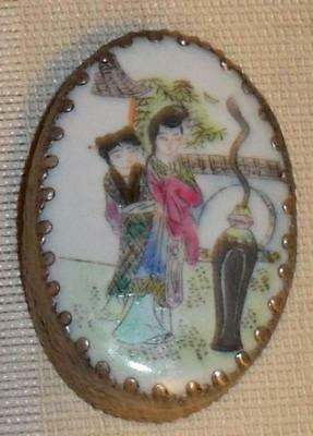 Antique Chinese Porcelain & Silver Trinket Box Hand Painted VTG 1800'S