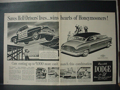 Dodge american automobiles advertising collectibles page 91 1951 dodge car lucky hell drivers honeymooners double page vtg print ad 11271 publicscrutiny Choice Image