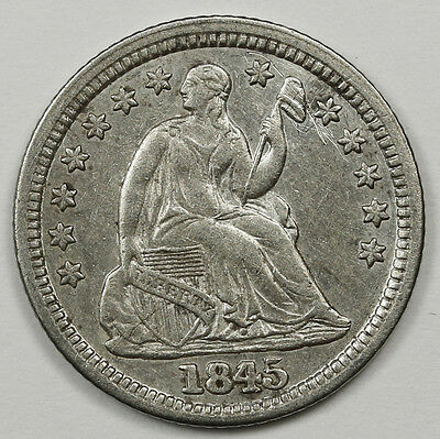 1845 Seated Liberty Half Dime.  Variety Re-punched Date.  A.U. Detail.  94731