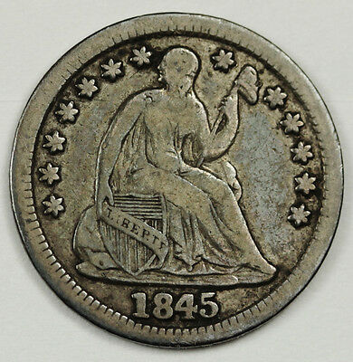 1845 Seated Liberty Half Dime.  V.F.  91025
