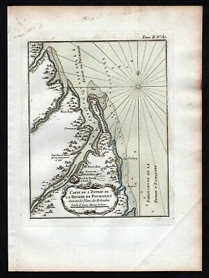 1764 - Pomeroon river Guyana South America Bellin handcolored antique map