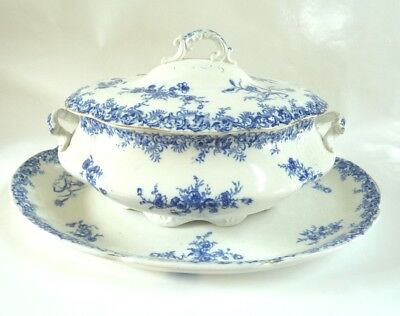 Antique Wedgwood Porcelain Soup Tureen Blue White With Under Plate Platter