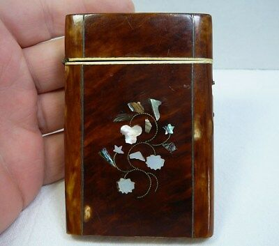 Damaged Victorian Calling Card Case Mother of Pearl MoP Inlay Inlaid Antique Vtg