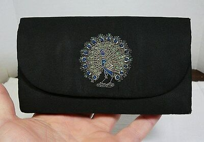 Chuttonlal & Bros Agra India Embroidered Clutch Purse Bag Vtg Embroidery Peacock