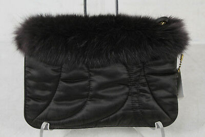 NWT Coach SATIN CANVAS Chocolate Fur Quilted Wristlet Purse