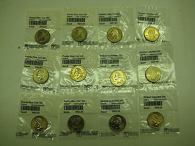 District of Colombia and Puerto Rico Quarters. 2009. 12 Coins