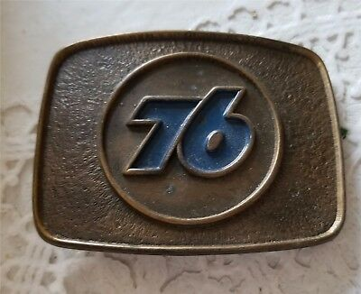 Vintage Union Oil 76 Advertising Belt Buckle Logo Blue
