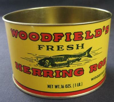 Vintage Woodfield Fish & Oyster Co Herring Roe Tin Can Galesville Md
