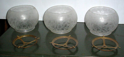 "3) Matching Antique Floral Etched Gas Shades W/ Brass Holder Rings 5"" Fitter"