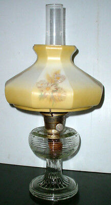 Gorgeous Antique Aladdin Beehive Oil Lamp W/ Model B Burner & Floral Shade N/r