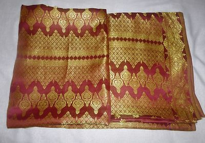 Heavy Vintage Indian Saree Hand Woven Fabric Art Silk Sari Saree