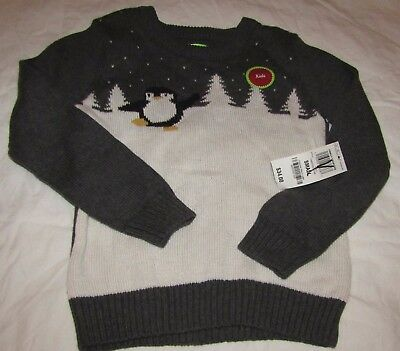 NEW Christmas Holiday Arcade Boys/Girls Penguin Sweater Charcoal Gray S 5-6 NWT