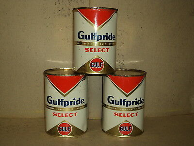 Lot of 3 Vintage Gulfpride Select Gulf One Quart Oil Can HD Select 30 Full Sign