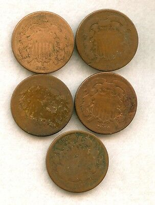 Lot Of Five 2 Cent Pieces 1865 1866 1866 1868 1869