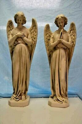 """+ Beautiful pair of traditional adoring Angel Statues + 25 1/2""""ht. + chalice co."""