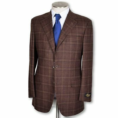 new Belvest dark brown Windowpane Wool Cashmere Dual Vent Sportcoat 40 40r NWT