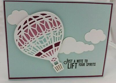 Lot of 6 Pretty Just a Note Hot Air Balloon cards made w/Stampin Up! supplies
