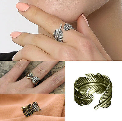 Ladies Vintage Feather Leaf Band Ring Bronze Leaf Opening Ring Women Jewelry