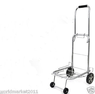 New Convenient Silver Four Wheels Collapsible Shopping Luggage Trolleys