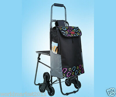 Black Pattern Chair Six-Tire Convenient Collapsible Shopping Luggage Trolleys