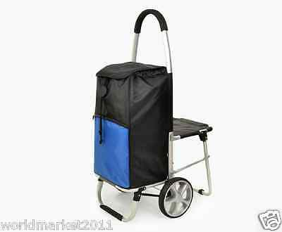 New Black + Blue Chair Two Wheels Collapsible Shopping Luggage Trolleys