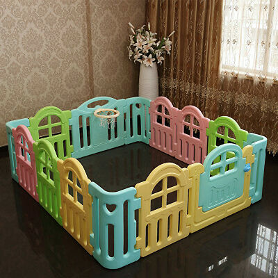 Baby Kids Playpen Security Foldable Panels Indoor Toddler Play Fence 14 PCs.