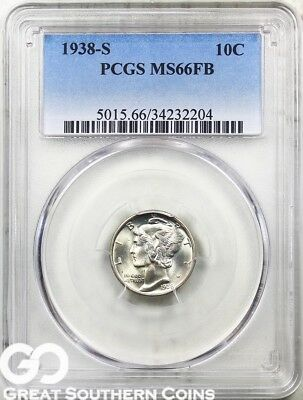 1938-S Mercury Dime, FULL Split Bands, PCGS MS 66 FB * Lustrous PQ White Blazer!